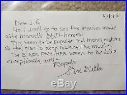 Steve Ditko Marvel Handwritten Signed Letter Black Panther Beckett Bas