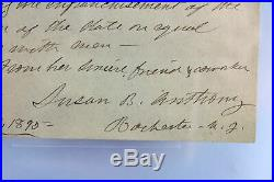 Susan B. Anthony 5.75x8.65 Hand Written Letter Dated Oct. 17, 1890 BAS