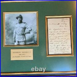 THEODORE ROOSEVELT JSA LOA Handwritten AUTOGRAPH Letter SIGNED President