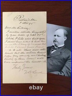 Thomas B. Reed Handwritten Letter Signed, Speaker Of House, CIVIL Rights, Maine