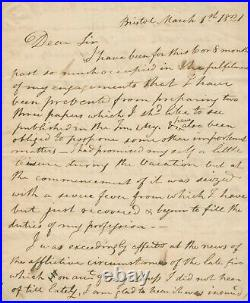 Thomas Exley SIGNED AUTOGRAPHED Handwritten MS Letter to Samuel Drew 1821