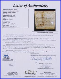 Thomas Jefferson Custom Framed Display with Hand Written Word from Letter LOA