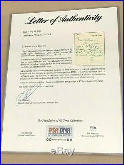 Ty Cobb Handwritten Signed Letter PSA/DNA Cert. # AG87818