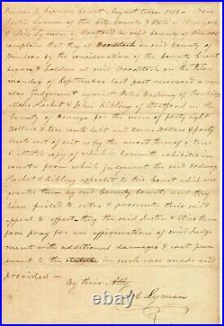 Vermont politician Job Lyman Hand Written Letter Dated 1812 Todd Mueller COA