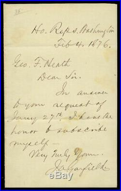 Very Fine, President James A. Garfield Handwritten Letter & Signed, 1876, Superb