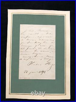Victor Hugo Handwritten Signed Letter BAS BECKETT LOA