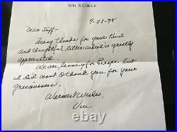Vin Scully Dodgers Sportscaster Original 1998 Handwritten & Autographed Letter