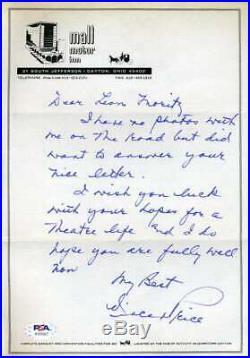 Vincent Price PSA DNA Coa Signed Handwritten Letter Autograph