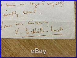 Vita Sackville-West Handwritten Signed Letter