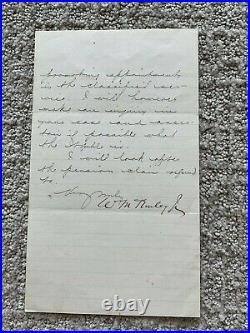 WILLIAM McKINLEY HANDWRITTEN LETTER SIGNED