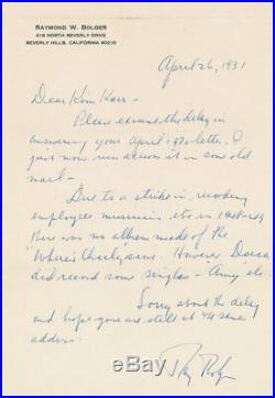 WIZARD OF OZ RAY BOLGER HANDWRITTEN LETTER SIGNED autographed