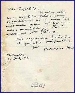 WRITER Friedrich Huch autograph, handwritten letter signed
