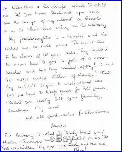 WW2 Bletchley Park Mavis Batey Enigma Code breaker hand written letter AK1482