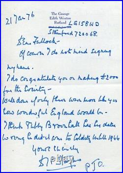 WW2 Colditz Senior British Officer David Stayner hand written & signed letter