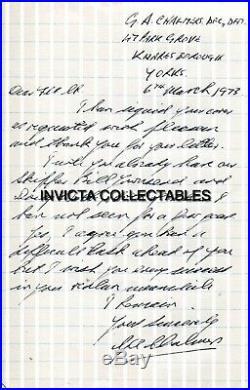 WW2 RAF Dambusters Raid veteran CHALMERS hand written signed letter