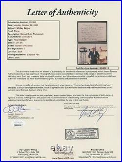 Whitey Bulger Hand Written Signed Letter Warden Alcatraz JSA COA from Cellmate