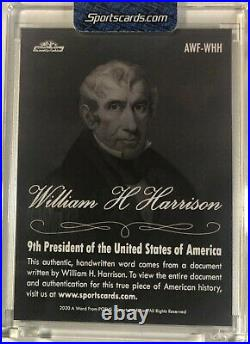 William H Harrison Handwritten Word From The President Potus Signed Letter Relic