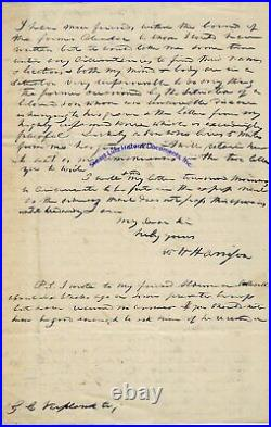 William Henry Harrison handwritten letter re elections, ex Prez & catching cold