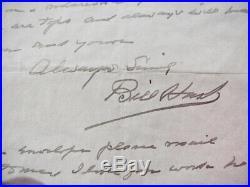 William S. Hart Handwritten Letter To Feg Murry, 1945