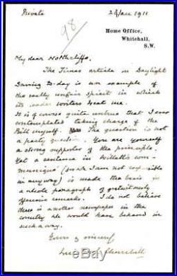 Winston Churchill Signed Autographed Handwritten 1911 Letter Beckett BAS