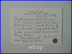 Writer Santha Rama Rau Hand Written Letter on 4X6 Card Todd Mueller COA